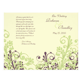 Green & Purple Abstract Floral Wedding Program