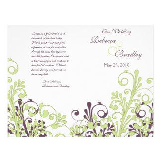 "Green & Purple Abstract Floral Wedding Program 8.5"" X 11"" Flyer"