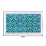 Green, Purple And Blue Mandala Pattern Case For Business Cards