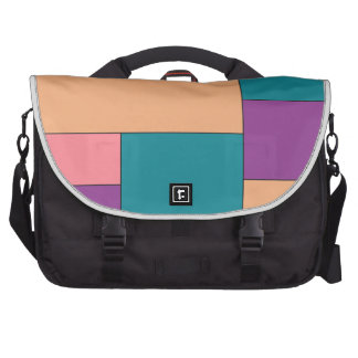 Green Purple and Brown Color Block Laptop Bags