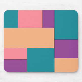 Green Purple and Brown Color Block Mouse Pad