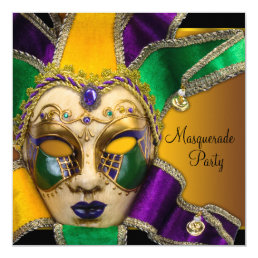 Green Purple and Gold Masquerade Party Card
