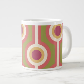 Green, purple and pink chain pattern giant coffee mug