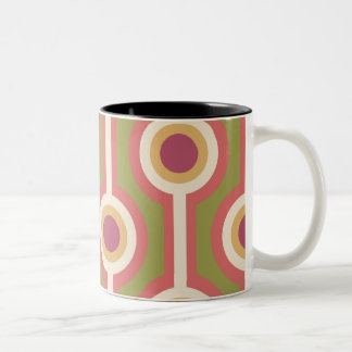 Green, purple and pink chain pattern Two-Tone coffee mug
