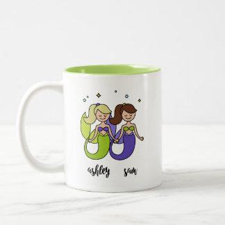 Green purple Ashley sam two Mermaid cute Friend Two-Tone Coffee Mug