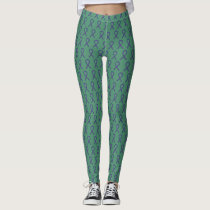 Green & Purple Awareness Ribbon Custom Leggings