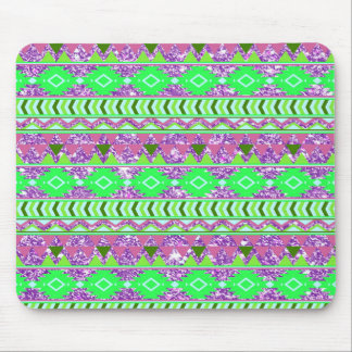 Green Purple Aztec Pattern Stripes with Glitter Mouse Pad