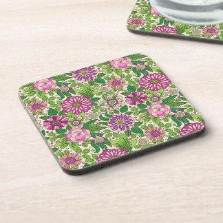 Green Purple & Beige Retro Flowers Pattern Drink Coaster