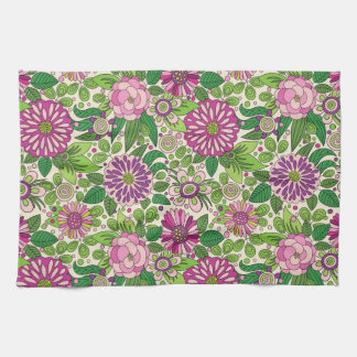 Green Purple & Beige Retro Flowers Pattern Hand Towel