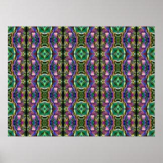 Green Purple Blue Mystic Eye Diamond Pattern Poster