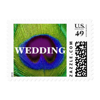 Green Purple Blue Peacock Feather Wedding Stamps