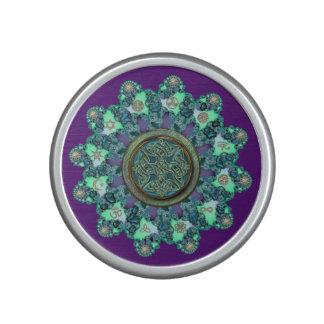Green Purple Celtic Knot Fractal Mandala Speaker