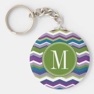 Green & Purple Chevron Pattern with Monogram Basic Round Button Keychain