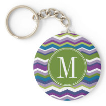 Green & Purple Chevron Pattern with Monogram Keychain