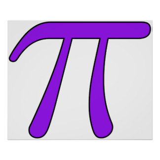 Green Purple Clear White Red Pi 3.14 symbol Math Posters