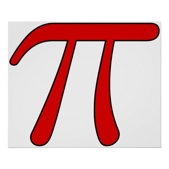 Green Purple Clear White Red Pi 3.14 symbol Math Poster