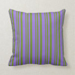 [ Thumbnail: Green & Purple Colored Lined/Striped Pattern Throw Pillow ]