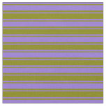 [ Thumbnail: Green & Purple Colored Stripes Fabric ]