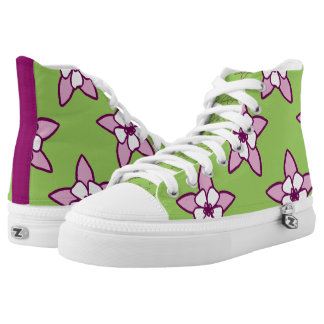 Green & Purple Columbine Floral by Aleta High-Top Sneakers