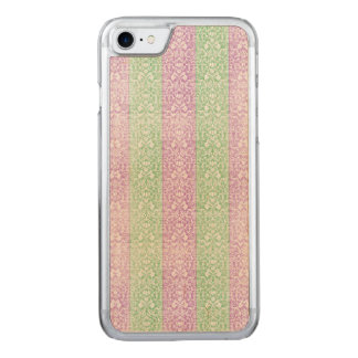 Green Purple Damask Ribbon Candy Lines Kawaii Carved iPhone 8/7 Case