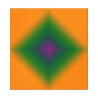 Green & Purple Diamond on Orange Canvas Print