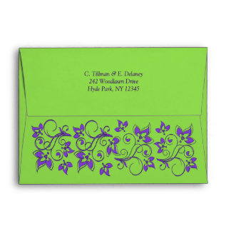 Green Purple Floral A7 Envelope for 5x7 Sizes
