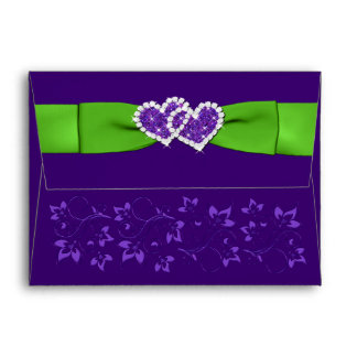 Green, Purple Floral Hearts A2 Envelope for RSVP's