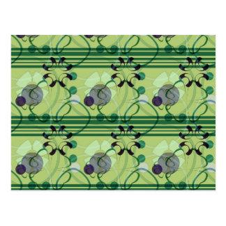 Green & Purple Floral Stripes Pattern Postcard