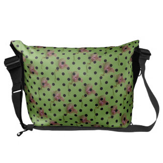Green purple flowers and black polka dots courier bag