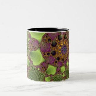 Green purple Fractal Two-Tone Coffee Mug