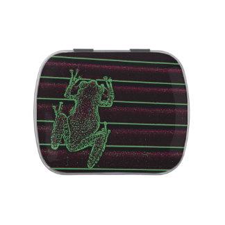 green purple frog graphic amphibian reptile design candy tin