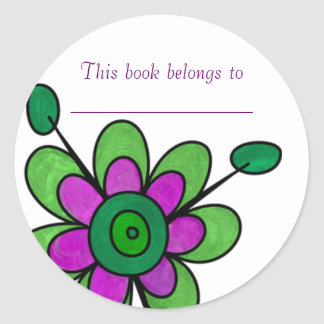 Green & Purple Fun Flowers Classic Round Sticker