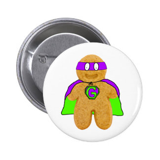 green/purple gingerbread man super hero badge pinback button