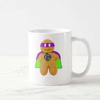 green/purple gingerbread man super hero mug