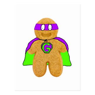 green/purple gingerbread man super hero postcard