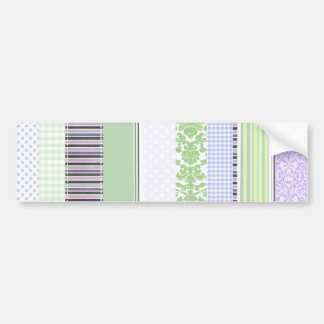 Green & purple girly stripe pattern bumper sticker