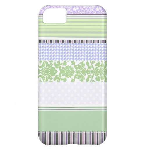 Green & purple girly stripe pattern iPhone 5C covers