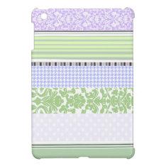 Green & purple girly stripe pattern iPad mini cover at Zazzle