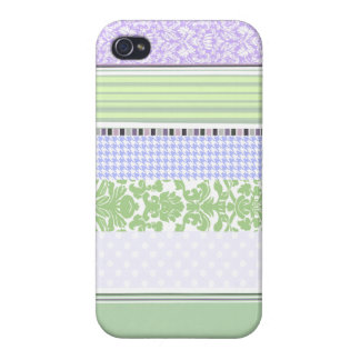 Green & purple girly stripe pattern iPhone 4/4S cases