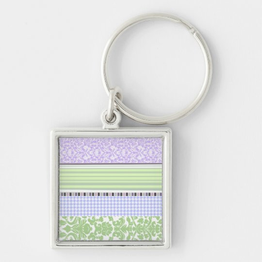 Green & purple girly stripe pattern keychain