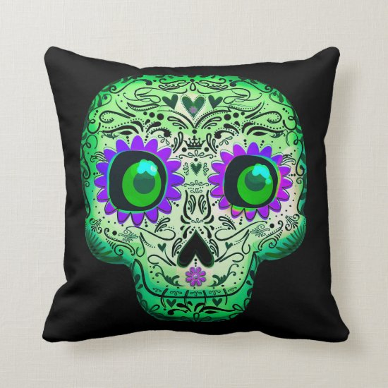 Green & Purple Glowing Sugar Skull Black Halloween Throw Pillow