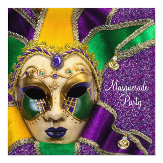 Green Purple Gold Masquerade Party Invitations