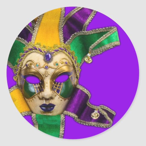 Green Purple Gold Masquerade Party Stickers