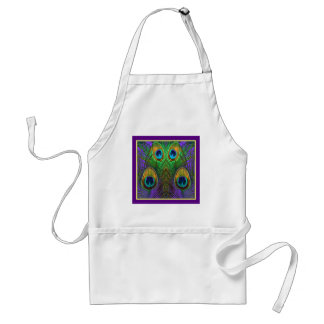 Green-Purple-Gold Peacock Feathers gifts Adult Apron