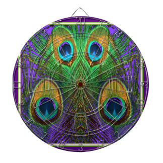 Green-Purple-Gold Peacock Feathers gifts Dart Board