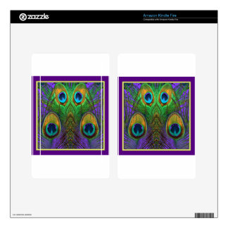 Green-Purple-Gold Peacock Feathers gifts Decals For Kindle Fire