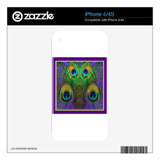 Green-Purple-Gold Peacock Feathers gifts Skin For iPhone 4