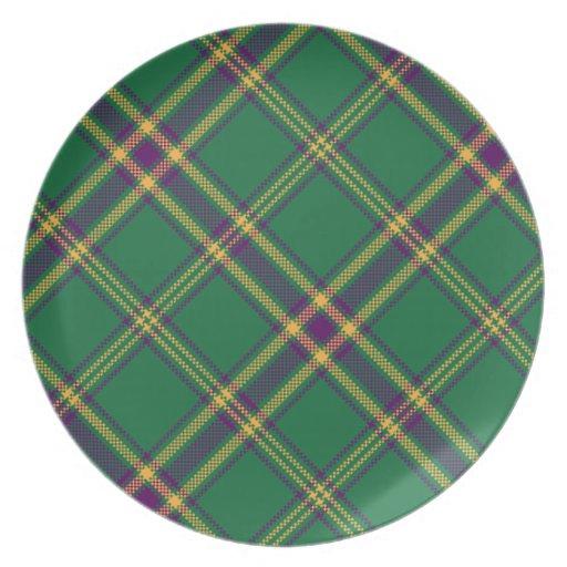 Green/Purple/Gold Tartan Plaid Plate