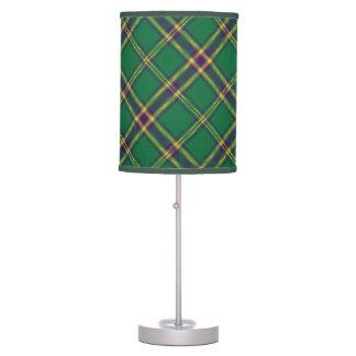 Green/Purple/Gold Tartan Plaid Table Lamp