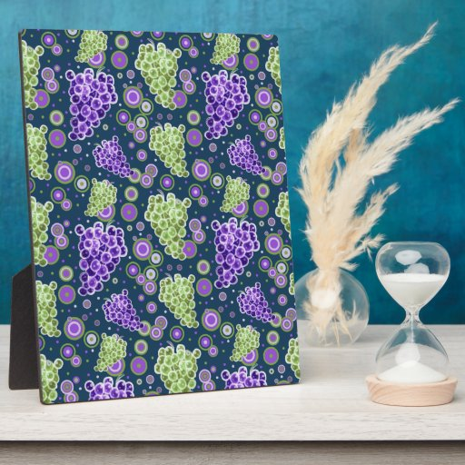 Green Purple Grapes Pattern Display Plaques